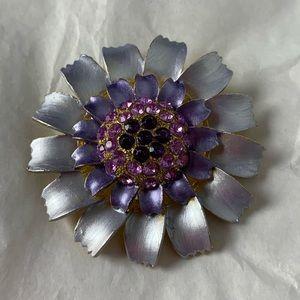 Purple Flower Brooch Floral Rhinestones Metallic